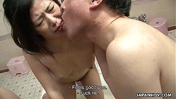 Threesome hot asian slut tasting himself