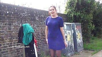 Amateur Babes flashing in public yard