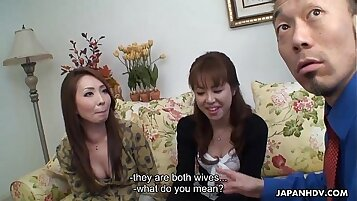 Asian chick rammed by two horny men in threesome