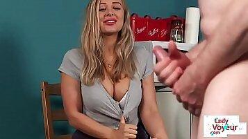 Busty british voyeur pleasures customer