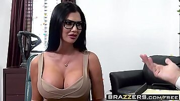 Busty boss Jasmine Jae gives her spouse a nice and good blowjob