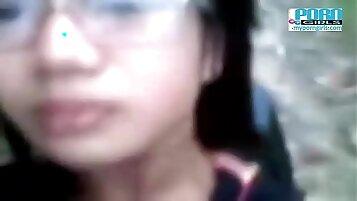 Asian teen camgirl cumming outdoors