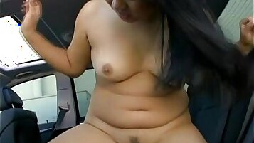 Busty Asian brunette played outside