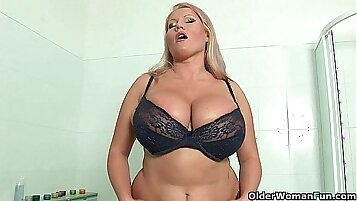 Busty blonde MILF with glasses destroyed pussy