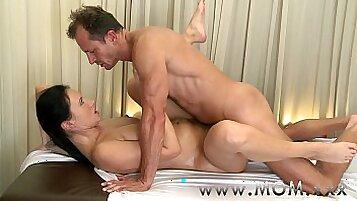 Brunette mom gets hot massage