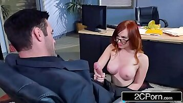Redhead babe Dani Jensen is getting all her holes smashed