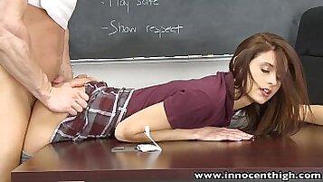 Teen schoolgirl cock guzzled by her teacher