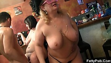 Busty cute Babe Rides Group At Dinner party!