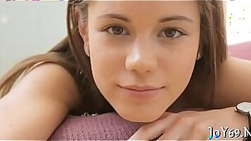 Inspectacular facializing of soft teen with bang fat rod