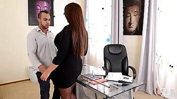 Skinny MILF Secretary gets fucked in the office
